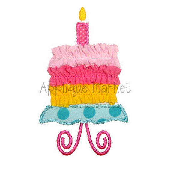 Machine Embroidery Design Applique Cake on Stand with Trim INSTANT DOWNLOAD
