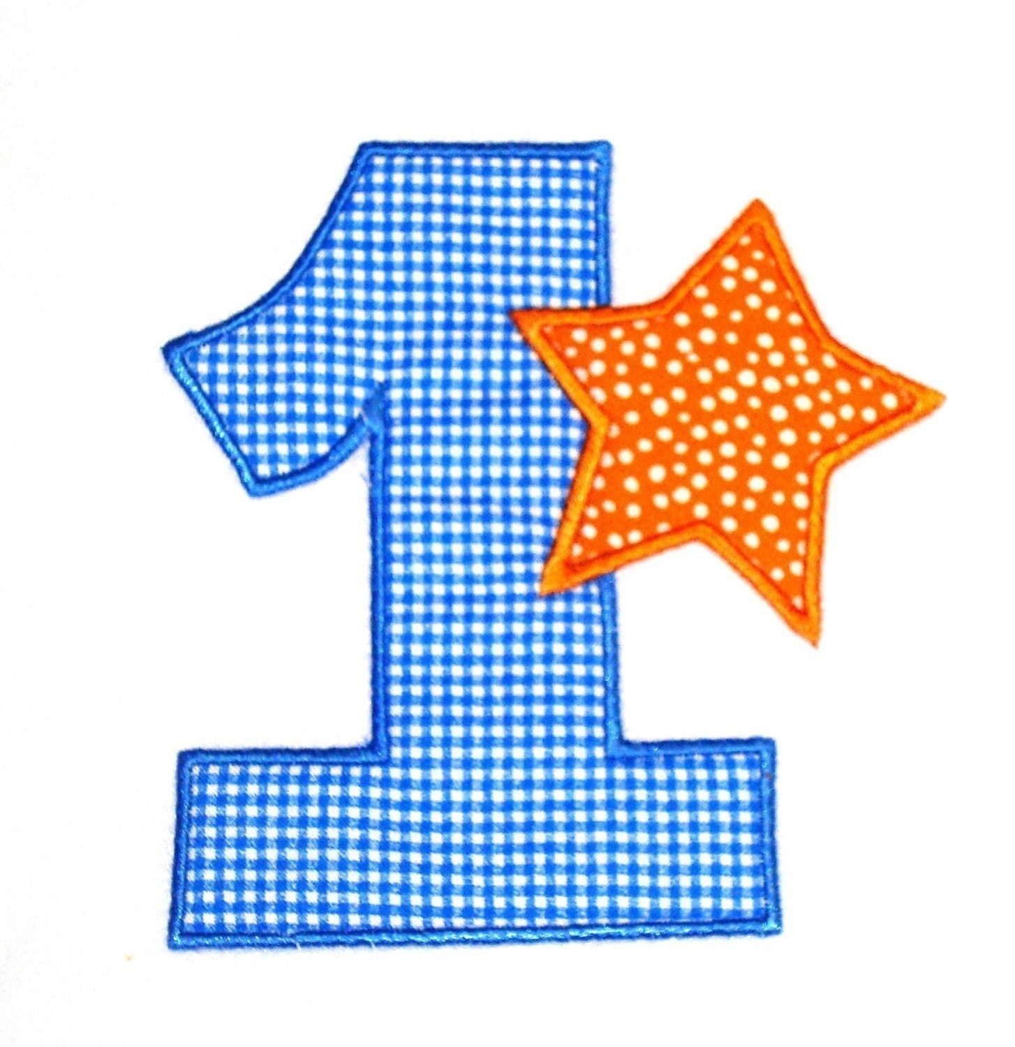 Machine embroidery applique design star numbers and