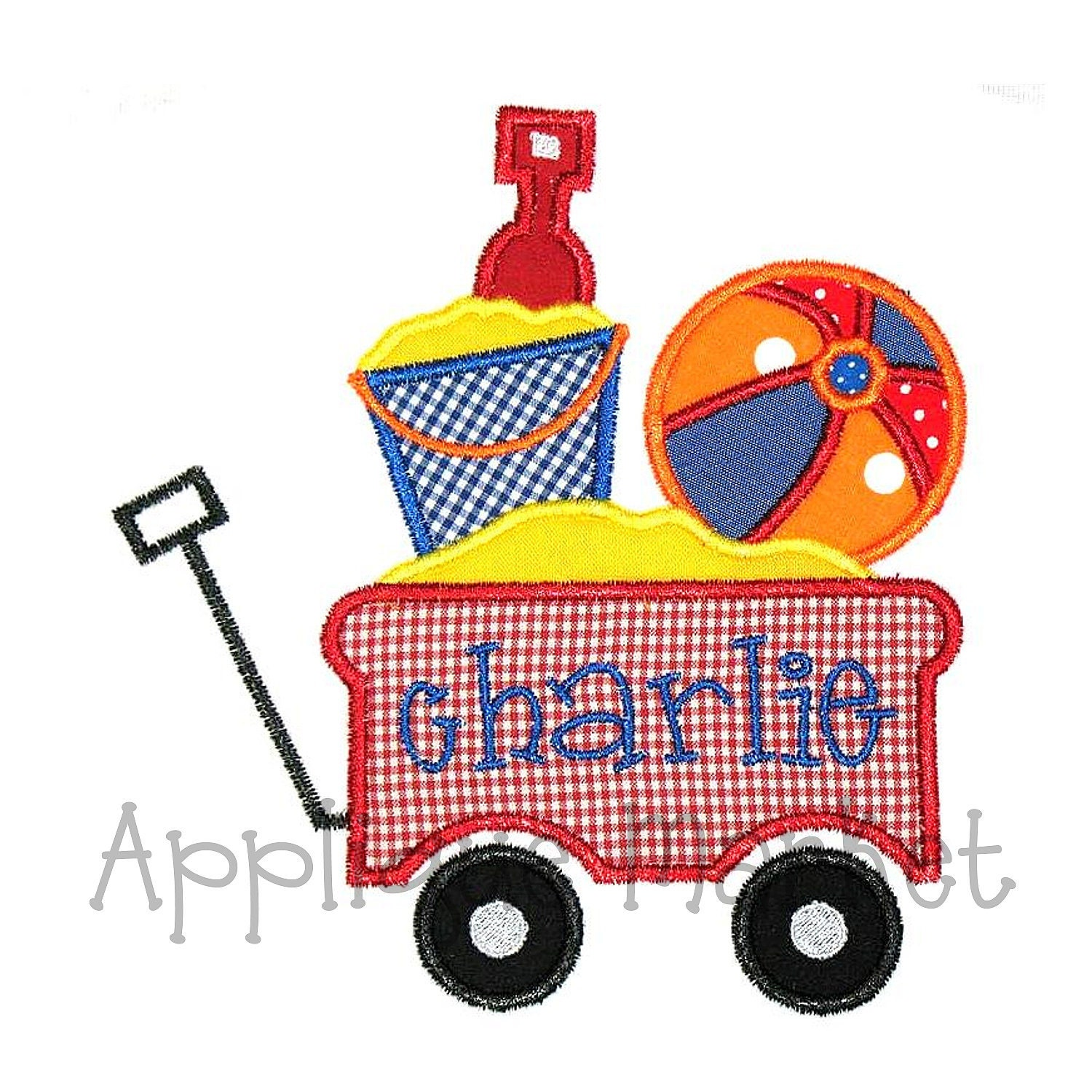 machine embroidery design applique beach wagon instant
