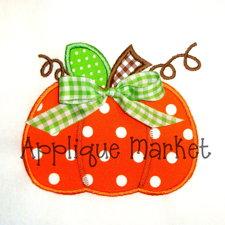 Machine embroidery design applique plump pumpkin by tmmdesigns for Appliques design