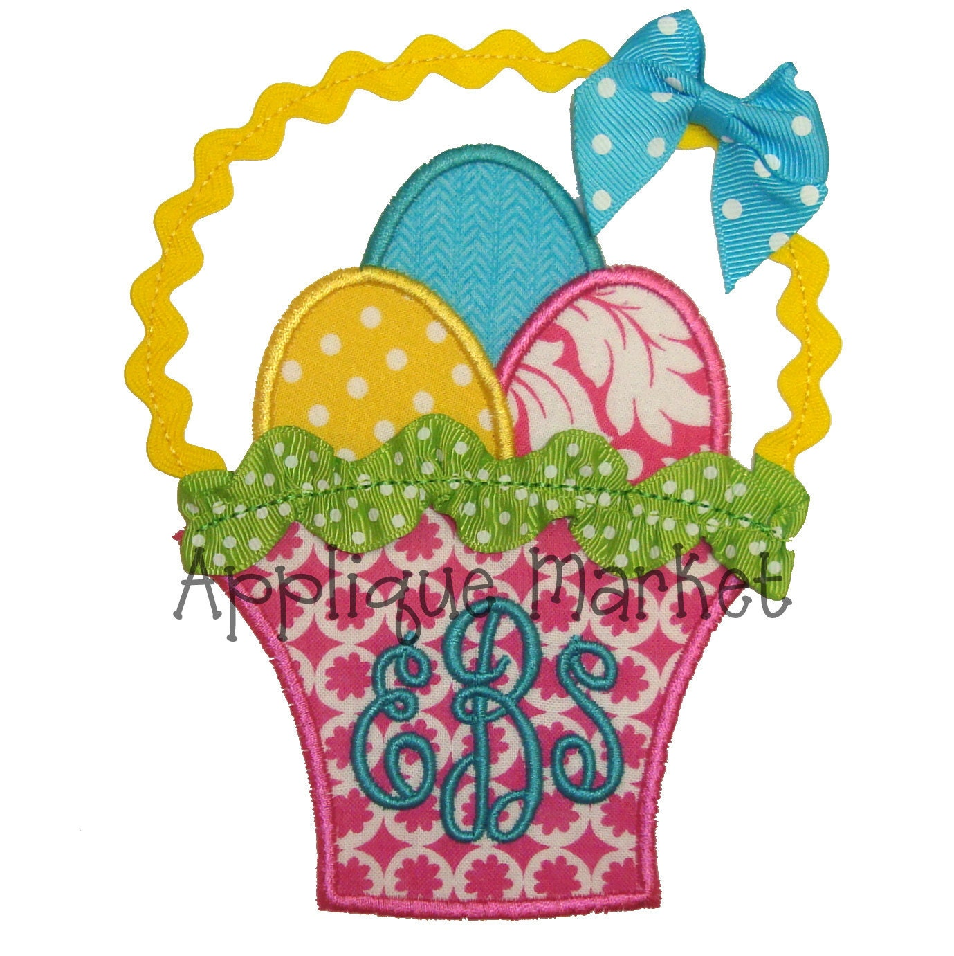 Machine embroidery design applique easter basket with trim
