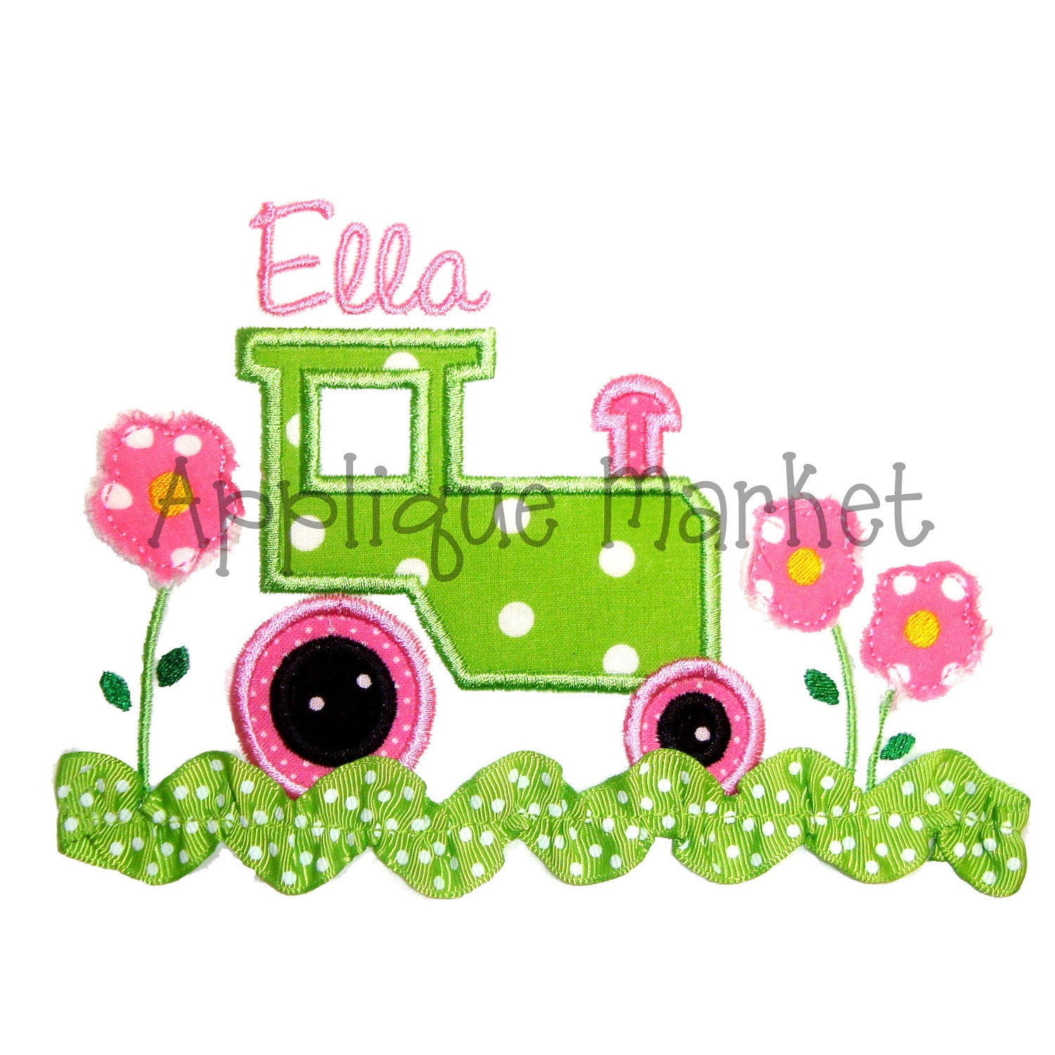 Machine embroidery design applique tractor with flowers