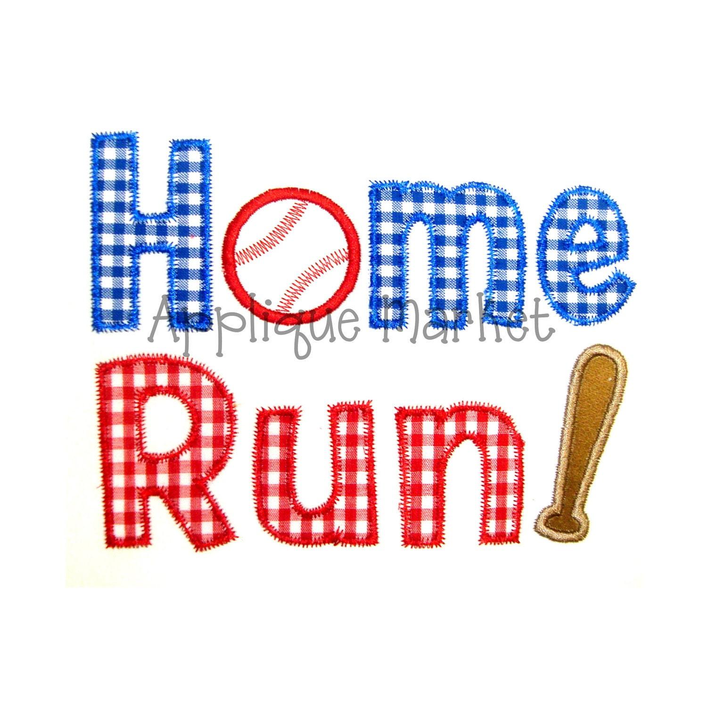 Machine Embroidery Design Applique Baseball Home Run Instant