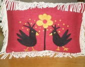 Needle Felted Pillow with 2 Crazy Blackbirds and a Daisy