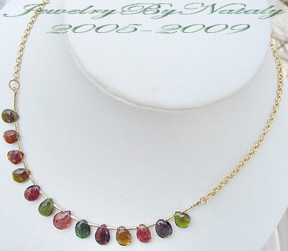 Multi Pink Green Watermelon Tourmaline Faceted Briolette Drop Beads Gold Necklace FREE SHIPPING WORLDWIDE