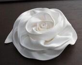Off White Charmeuse  Hair Clip - Silk Flowers
