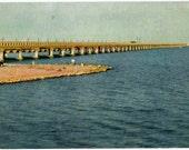 Galveston Texas Causeway Postcard, 1951, Souvenir, Bridge to Galveston, Texas, Vintage, Collectible, Paper, Ephemera, Fun in the Sun, Beaches, Sand and Sea, The Gulf of Mexico, Vacation,  Daddy Are We There Yet