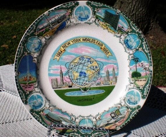 60s Worlds Fair Plate 1964 1965 New York Worlds Fair Wall Art Collectible Souvenir Home Decor