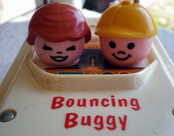 Fisher Price Bouncing Buggy, 1973, Toy, Original Pull String, Children, Fun, Movement and Noise, Pull Toy, Great Vintage Condition