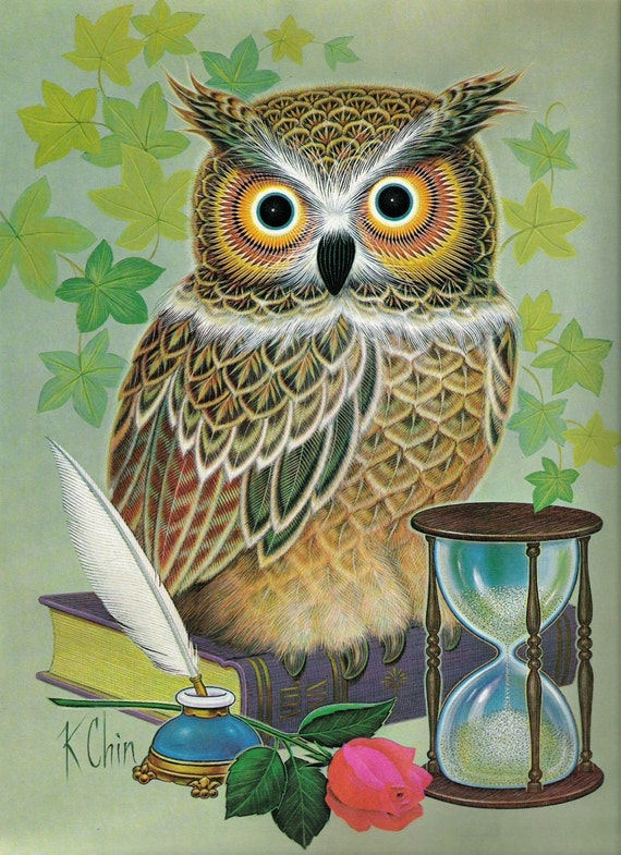 K Chin Wise Owl Lithograph Print 1973 Signed Donald Art
