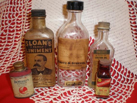 Vintage Medicine Bottles from the 1930s. Sloans Liniment, Hallocks Castor Oil, Mercurochrome, Dr. Wernets Powder for Dentures, Prescription