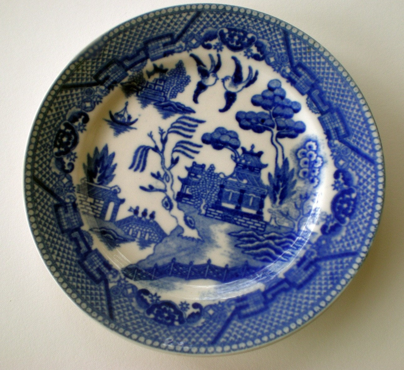Vintage Blue Willow Plate Small Dessert Plate 50s Housewares