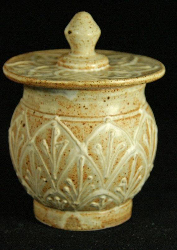 Handmade Pottery Rustic White Sugar Bowl with Elaborate Design