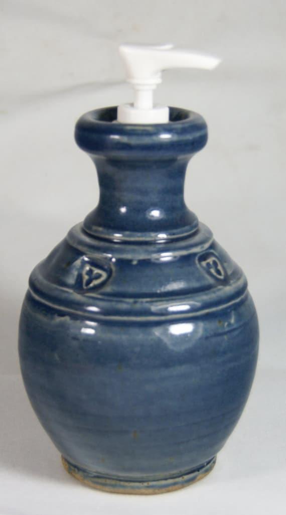 Lotion Bottle Deep Blue Sale Handmade Pottery