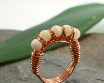 Kiss Kross Ring - Honey Jade - copper wire wrapped ring