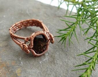 Spiral Bezel Smokey Quartz Ring