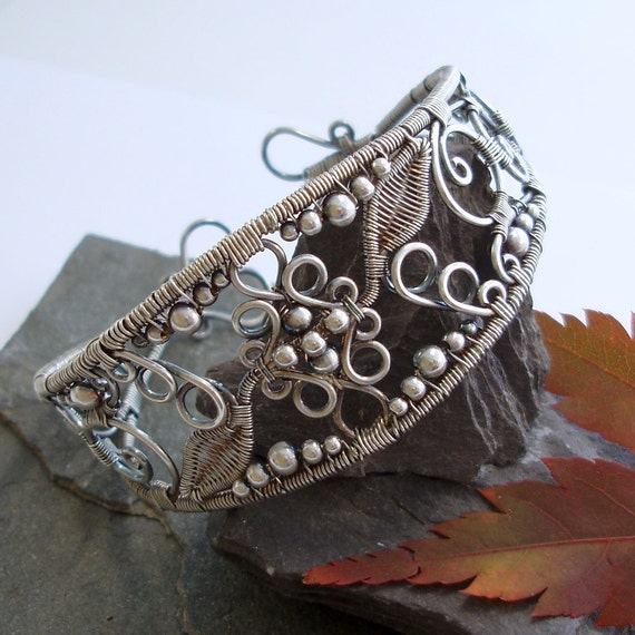 Lace - Filigree Inspired cuff - Silver - Reserved for Flavia