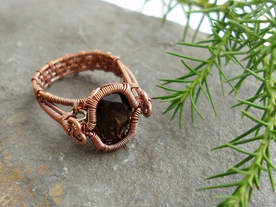 Spiral Bezel Smokey Quartz Ring - copper wire woven ring - oval-facet natural smokey quartz gemstone