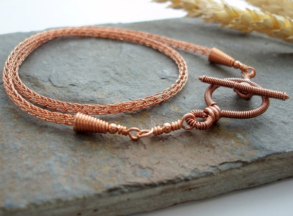 Viking knit chain necklace with Toggle clasp