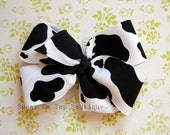 Black and White Cow-print Pinwheel 5 inch Bow