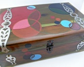 Stationary Box, Jewelry Box, Cedar Wood, Hand Painted, Restored Vintage by MalcolmStudioShop on Etsy