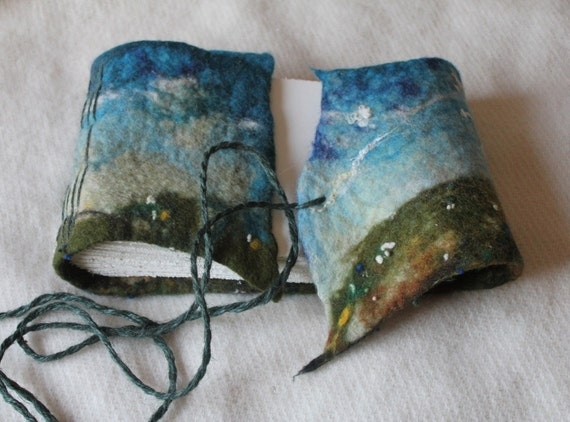 10 1/2 x 7 1/2 felted wool journal or album Summer meadow