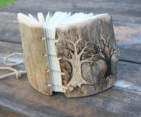 Rustic wood wedding journal Coptic stitched  7  x 5 with 2 Trees of Life