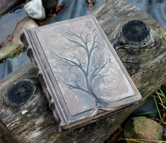 Leather Wedding Guest Book Tree of life 10 1/2 x 7 1/2