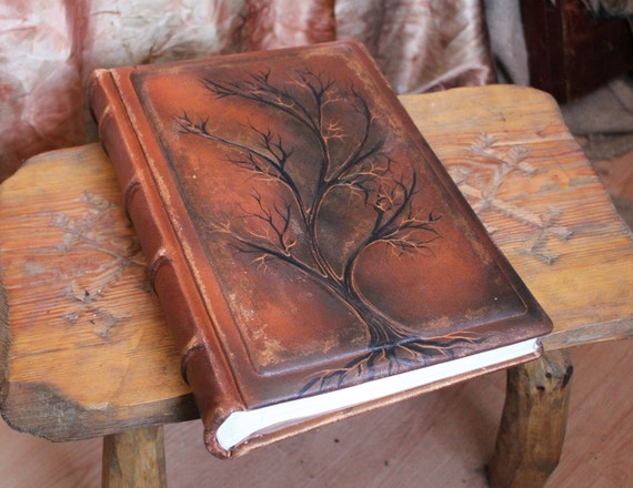 Wedding leather Photo album 13 x 9  with Tree of Life for 300 photos