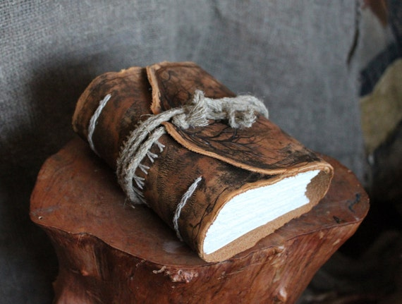 Leather journal Extra thick hand bound with jute cord
