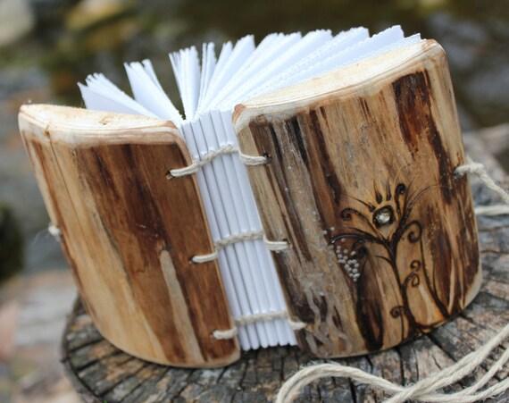Rustic wood journal  Coptic stitch