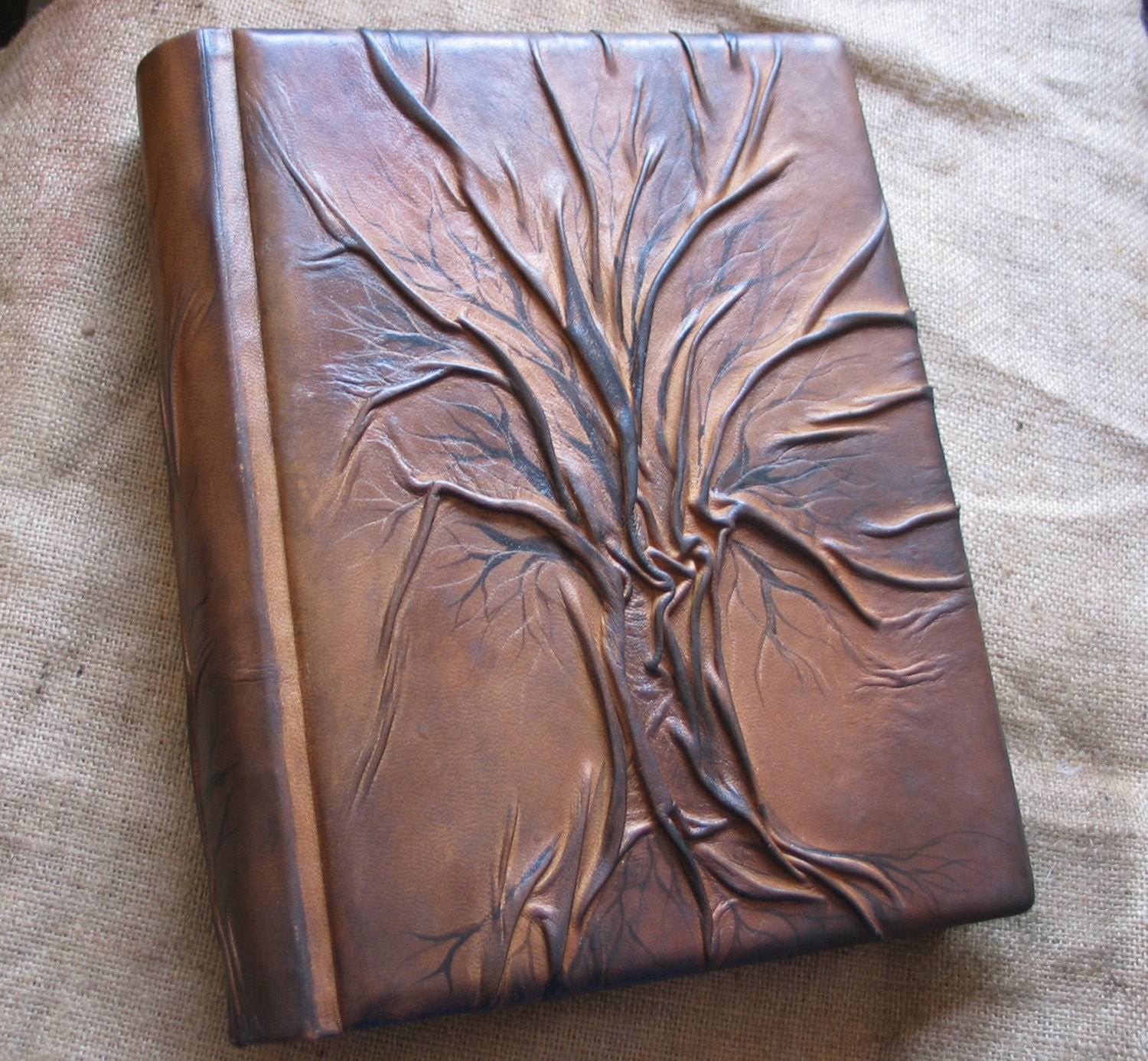 How To Make A Book Cover With Leather ~ Leather wedding guest book tree of life