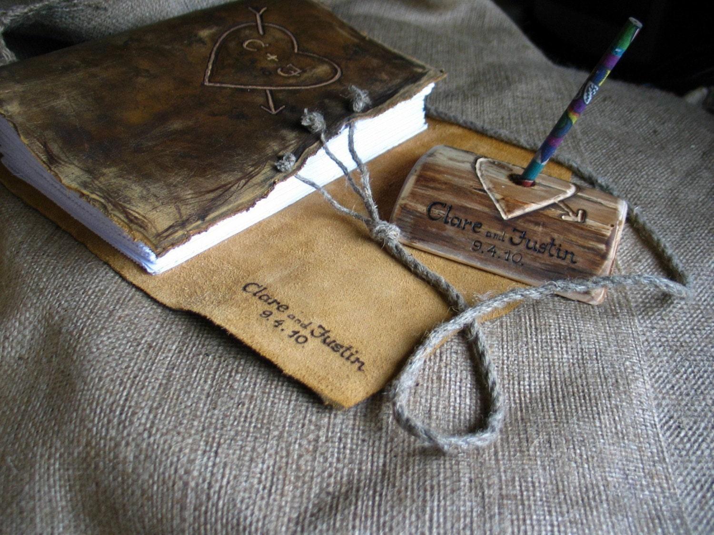 Custom Wedding Guest Book Leather Rustic Wedding Guest Book
