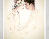 You & Me Forevermore 8X11  Fashion Illustration Print
