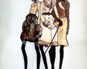 Girls in Coats 8 X 11 Art Prints