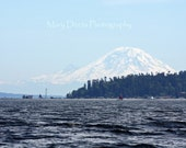 Under the Mountain's Watchful Eye--8x10 Print Mountain Ocean Lighthouse