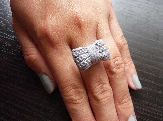 Handmade Crochet Bow Ring - Gray