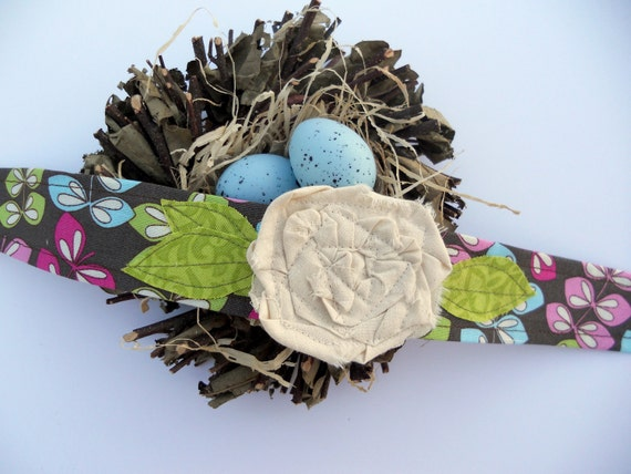 Fabric Flower Headband in brown, green, pink, blue with a beautiful muslin fabric flower and green leaves