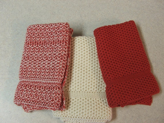 Dishcloths knit in cotton - Red, Off white