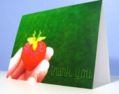 6 Strawberry Thank You Cards set