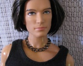 Gunmetal Lg Curb Chain Necklace Guy Doll Jewelry
