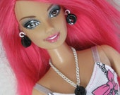 Tiny Black Buttons Doll Jewelry Necklace and Earring Set Barbie Fashion Royalty Blythe Momoko