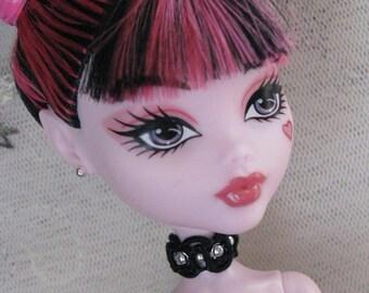 Black Beaded Lace Choker Gothic Doll Jewelry Set for Petite Slimline High Dolls