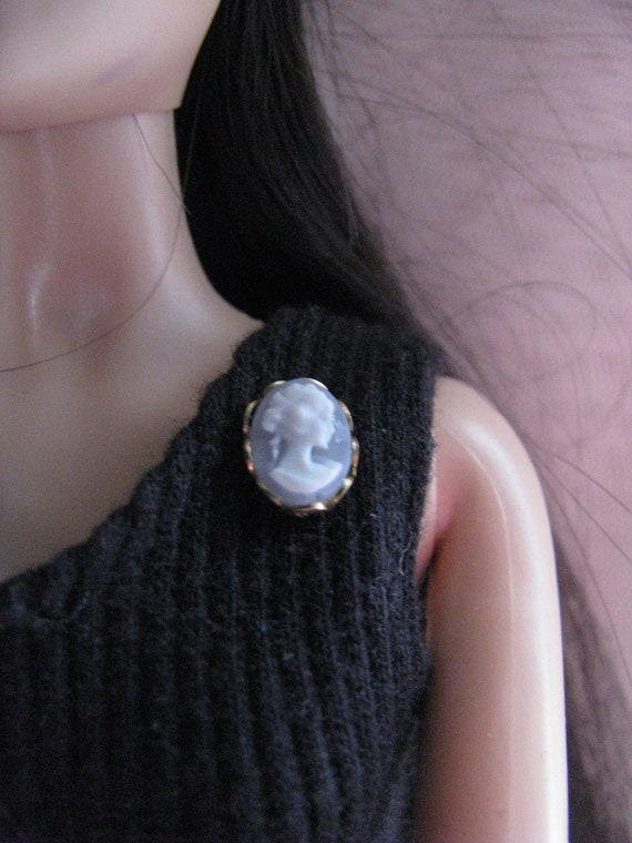 Tiny Blue and Gold Cameo Brooch Pin Doll Jewelry