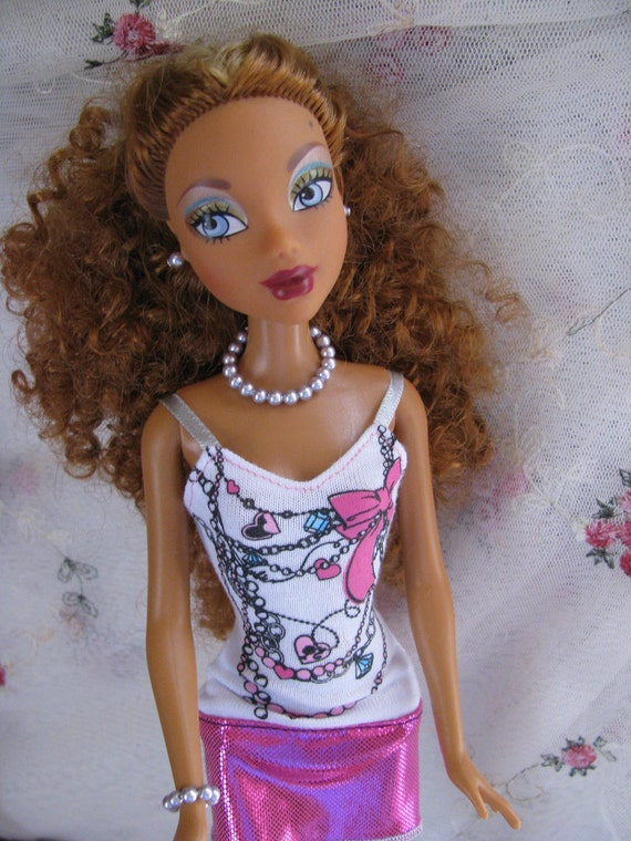 Lavender Pearl Doll Jewelry Set Necklace Bracelet Earrings Barbie Fashion Royalty Silkstone