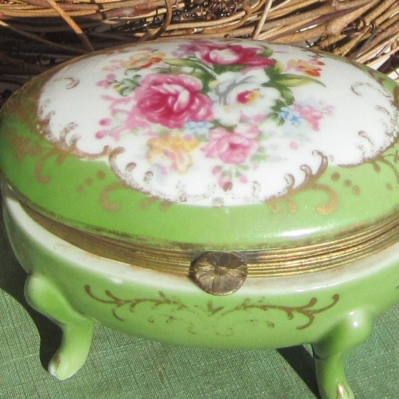 Trinket Box Antique Porcelain Footed Jewelry Box With Brass