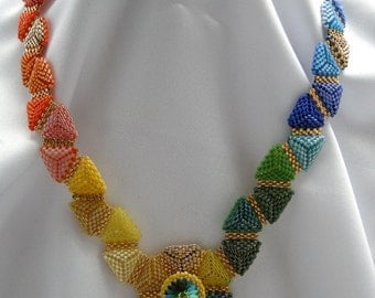 Beadwoven Necklace Delicate Sunset