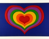 Tampella Fabric Rainbow Heart Stretched and Quilted 1970's