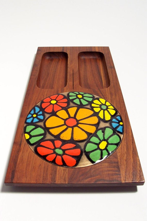 1960's Mod Flower Power Cheese Tray design by Ernest Sohn