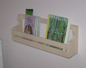 Book rack holder shelf low profile wall mount 16 inches long pine/pg for kids books